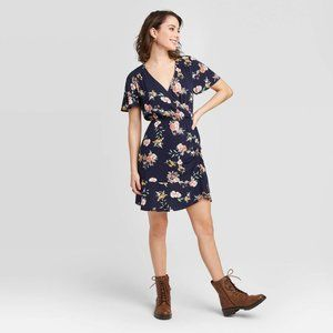 Floral V-Neck Cinched Bottom Wrap Mini Dress
